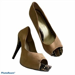 Jessica Simpson Amanda platform heels tan snake